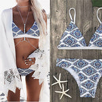 Ladies White Floral Bikini Swimsuit