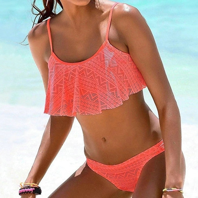 Simple Solid Color Bikini Set