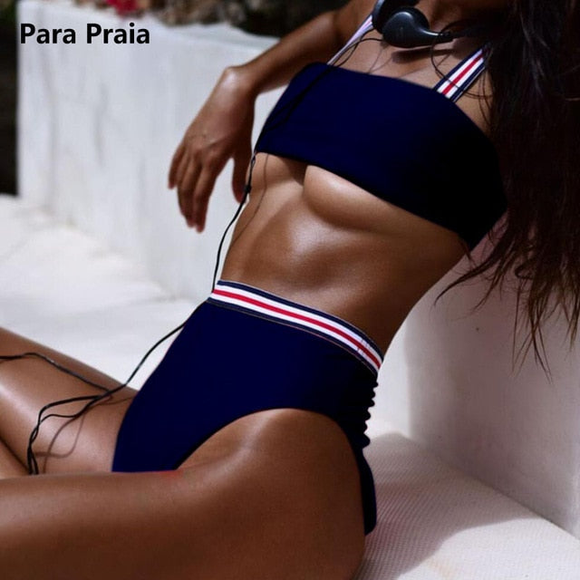 Two Pieces Striped High Waist Swimsuit
