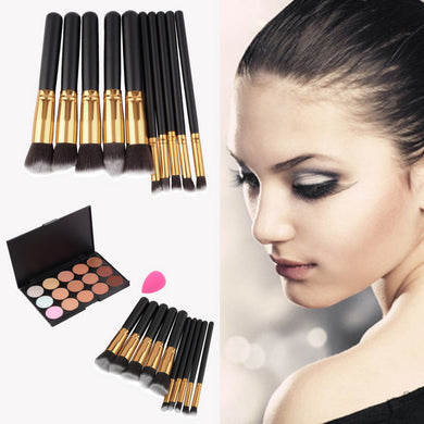 15-Colors Makeup Face Concealer Palette + 10pcs Brushes Set + Sponge Puff