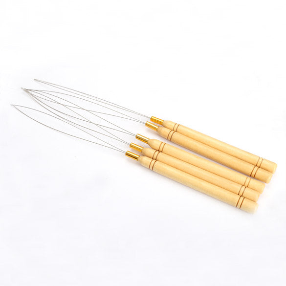 Fashion 5 Pcs Hair Extension Hook Pulling Tool Needle Threaders W/Loop Wooden Handle With Iron Wire Hotting