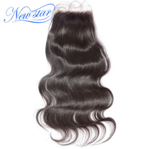 New Star Brand Hair Lace Body Wave 4''x4'' Free Part Closures Peruvian Virgin Human Hair Medium Brown Swiss Lace With Baby Hair Extensions