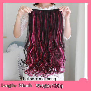 SHANGKE 24'' Long Curly Clip In Hair Extension