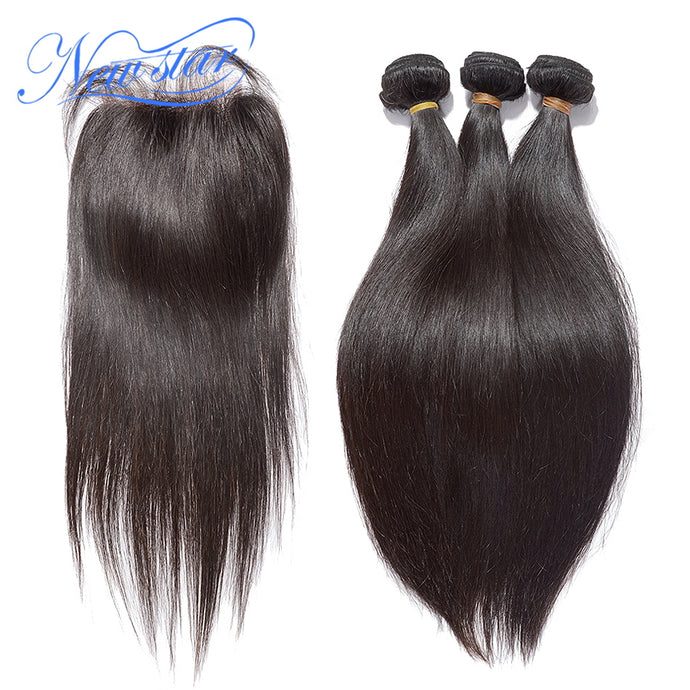 New Star Brand Brazilian Virgin Straight Human Hair 3 Bundles Weaving With A 4x4 Lace Free Part Closure