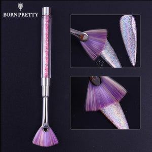 Fan Shape Nail Cleaning Brush w/Unicorn Pink Rhinestone Handle