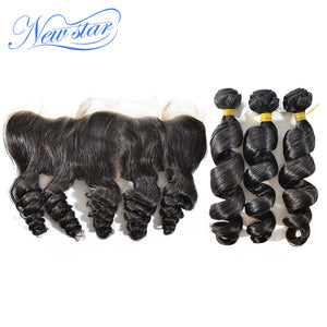 New Star Brand Loose Wave Virgin Human Hair 3 Bundles Weft With A Ear to Ear Free Part Lace Frontal Closure Natural Color Hair Weave Extensions
