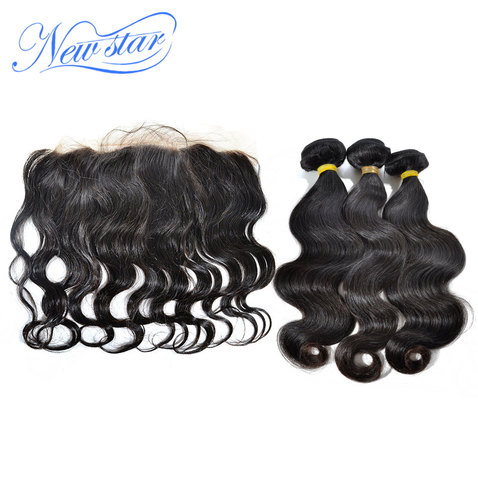 New Star Brand Brazilian Body Wave 3 Bundles Weft With A 13x4 Free Part Ear to Ear Pre Plucked Lace Frontal Human Hair Extensions