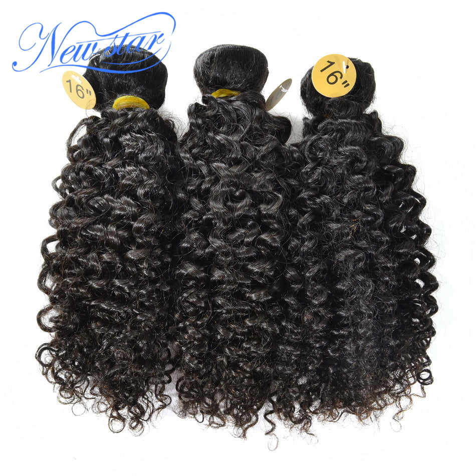 New Star Brand Brazilian Afro Kinky Curly Hair Extension 3 Pcs Weft 100% Virgin Human Hair Intact Cuticle Thick Bundles