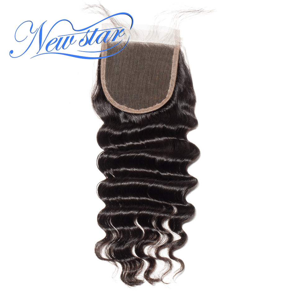 New Star Brand Brazilian Loose Deep Lace 4x4 Free Part Closures Virgin Human Hair Swiss Lace Natural Hairline With Baby Hair Extensions 10-20