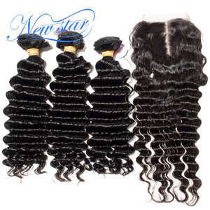 New Star Brand Deep Wave 3 Bundles Weft With A Middle Part Lace Closure Brazilian Virgin Thick Human Hair Extension