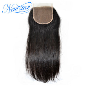 New Star Brand Brazilian Straight 4''x4'' Lace Closures With Baby Hair Knots Bleached 100% Virgin Human Hair