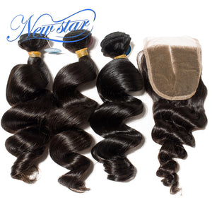 New Star Brand Brazilian Loose Wave Virgin Hair 3 Bundles Weft With A 4x4 Lace Closures 100% Unprocessed Thick Human Hair Extensions