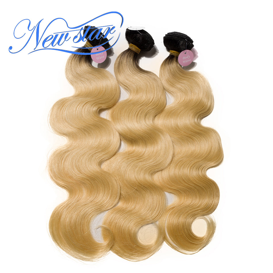 New Star Brand Brazilian Black Roots Blonde Hair Body Wave 3 Bundles T1B/613 100% Remy Human Hair Extensions