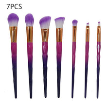 Professional 7pcs Diamond Shape Rainbow Handle Makeup Brush Set