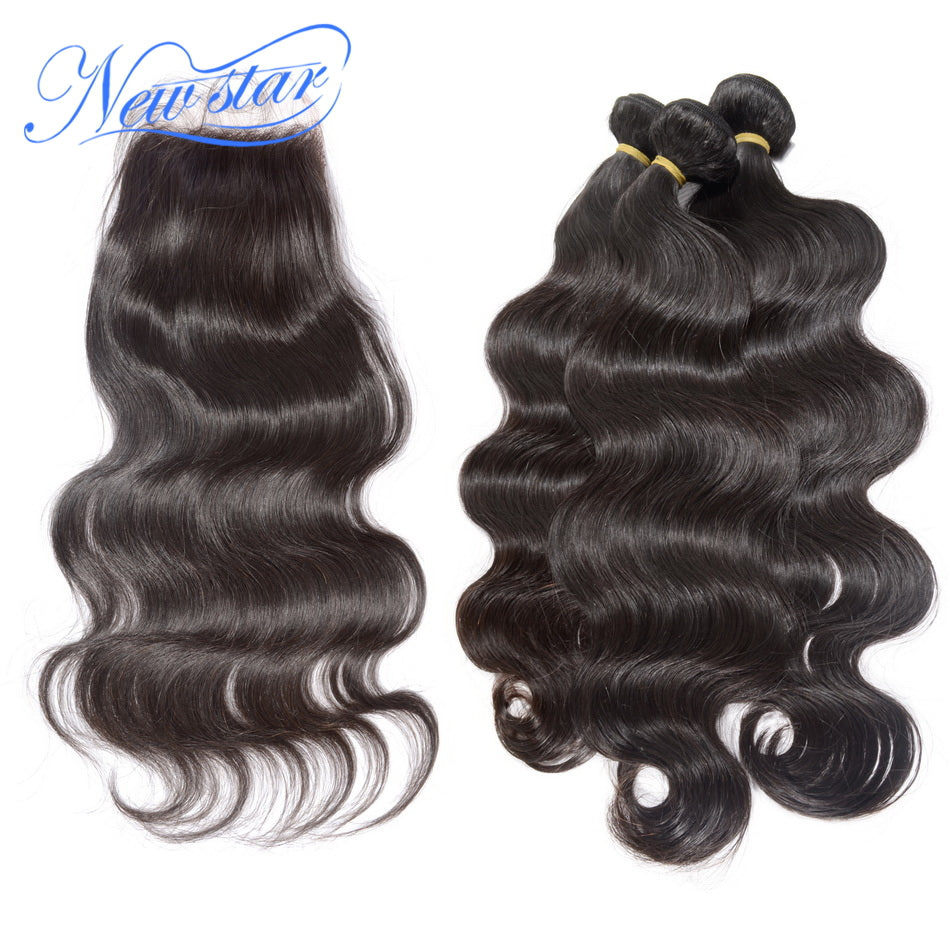 New Star Brand Brazilian Virgin Hair Body Wave 3 Bundles Weave With A Free Or Middle Part Lace Closures Unprocessed Human Hair Extensions