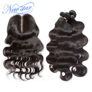 New Star Brand Peruvian Body Wave 3 Bundles With Lace Closure 100% Unprocessed Virgin Human Hair Weave Extension