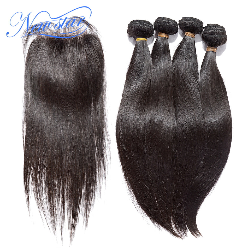 NEW STAR Brand Brazilian Straight Hair 4 Bundles Virgin Human Hair Extension With a 4x4 Lace Closure