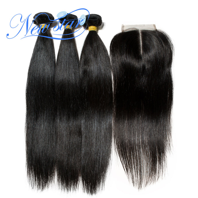 New Star Brand Peruvian Straight Virgin Hair 3 Bundles With A Middle Or Free Part Lace Closures 100% Unprocessed Human Hair