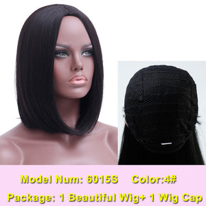 SHANGKE Hair Short Bob Black Natural Synthetic Wig