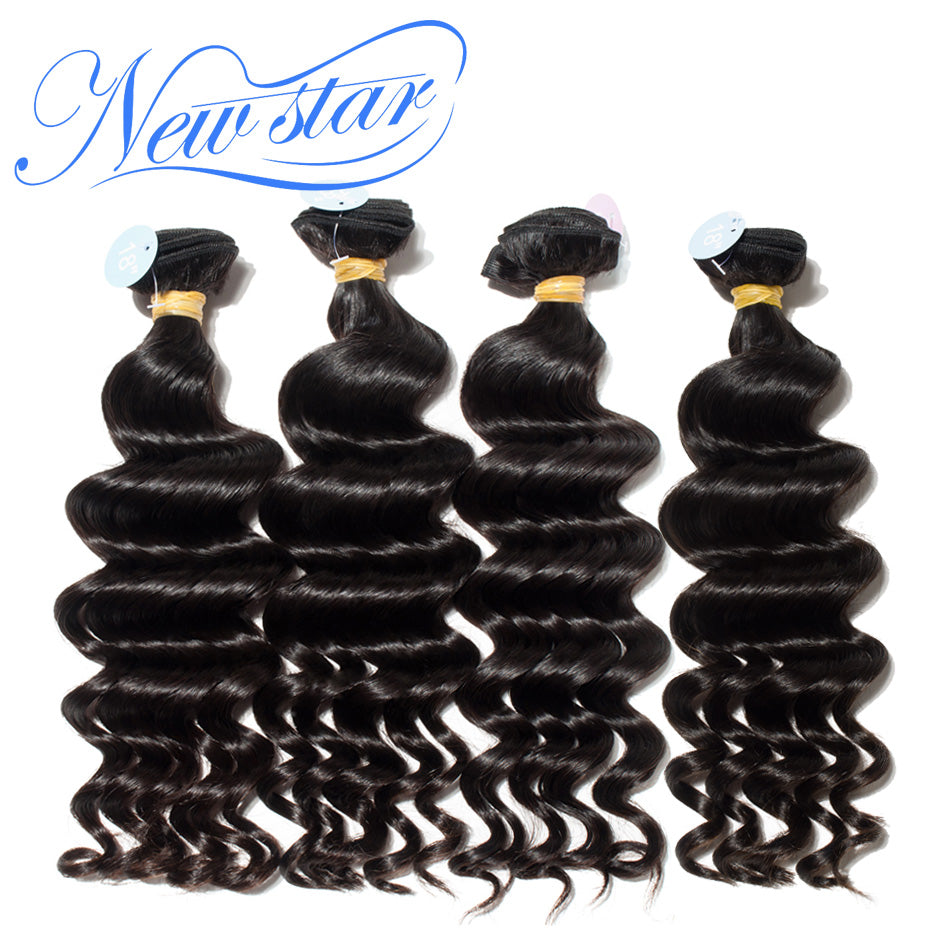 New Star Brand Brazilian Loose Deep Hair Weave Extensions 4 Bundles 100% Human Hair