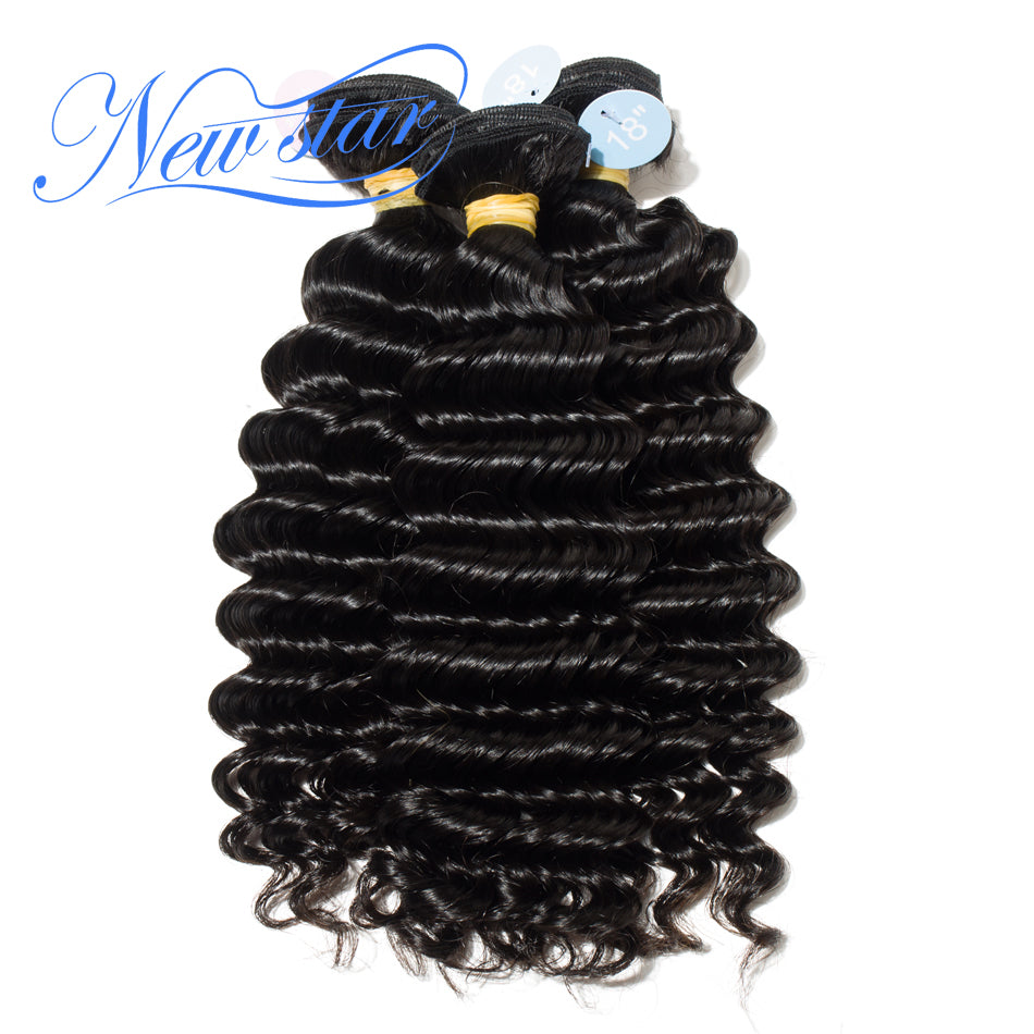 New Star Brand Deep Wave Peruvian Virgin Hair Weave Extension 3 Bundles 10'-34'' Unprocessed Thick Human Hair Weave