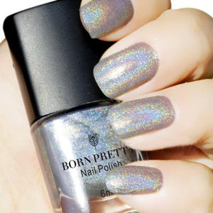BORN PRETTY Silver Holographic Glitter Nail Polish