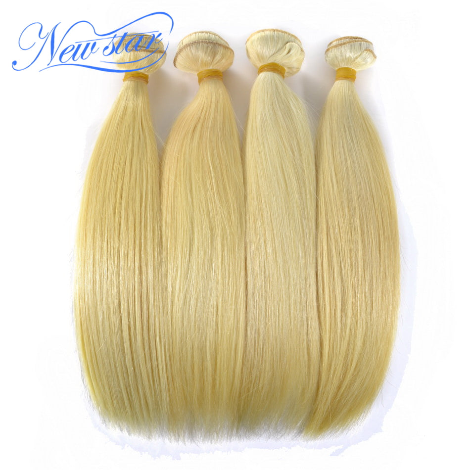 New Star Brand Blonde Hair Brazilian #613 Straight Remy Hair Weave 4 Bundles Extensions 10-30