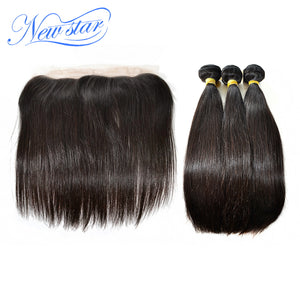 New Star Brand Brazilian Straight Virgin Hair Pre Plucked 13x4 Lace Frontal Closure With 3 Bundles Thick Hair Weave Extensions