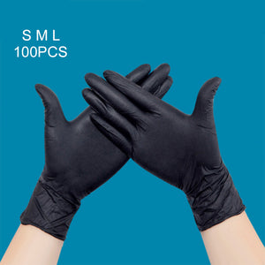 100 Pcs/Set Disposable Black Nitrile Gloves Medical Tattoo Mechanic Industrialization Latex Gloves For Styling Accessories FM88
