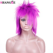 SHANGKE (Party Costume)Short Natural Straight Purple Wig