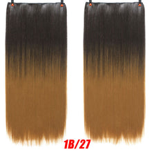 "SHANGKE 24"" Long Stright 5 Clip In Hair Extensions Natural Ombre Hairpieces"