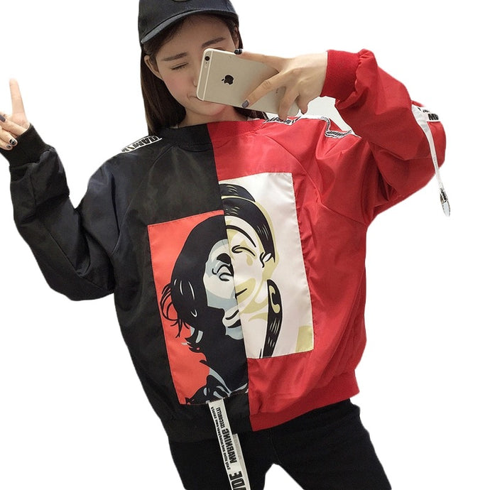 E.D - Painting Style Bomber Jacket: Red