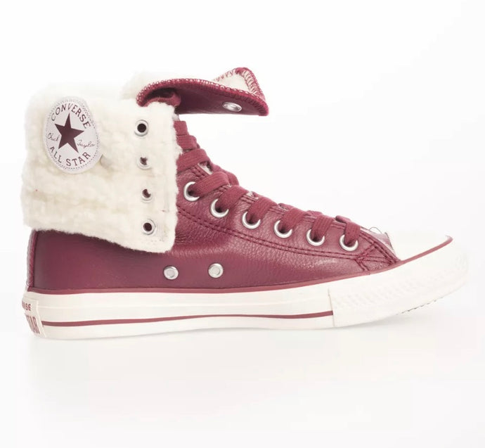 Converse - Retro Leather Fold Over White Fur Shoes: Maroon