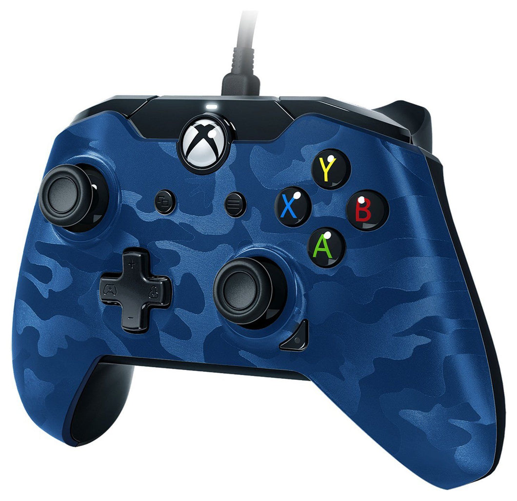 PDP - Stealth Series Camo Wired Xbox One Controller: Camo Blue