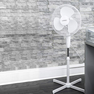 "Livivo - 16"" Electric Pedestal Fan: White"
