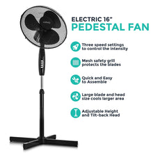 "Load image into Gallery viewer, Livivo - 16"" Electric Pedestal Fan: Black"