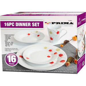 Prima Kitchenware - 16 Piece Dinner Set: Red and Cream Pattern