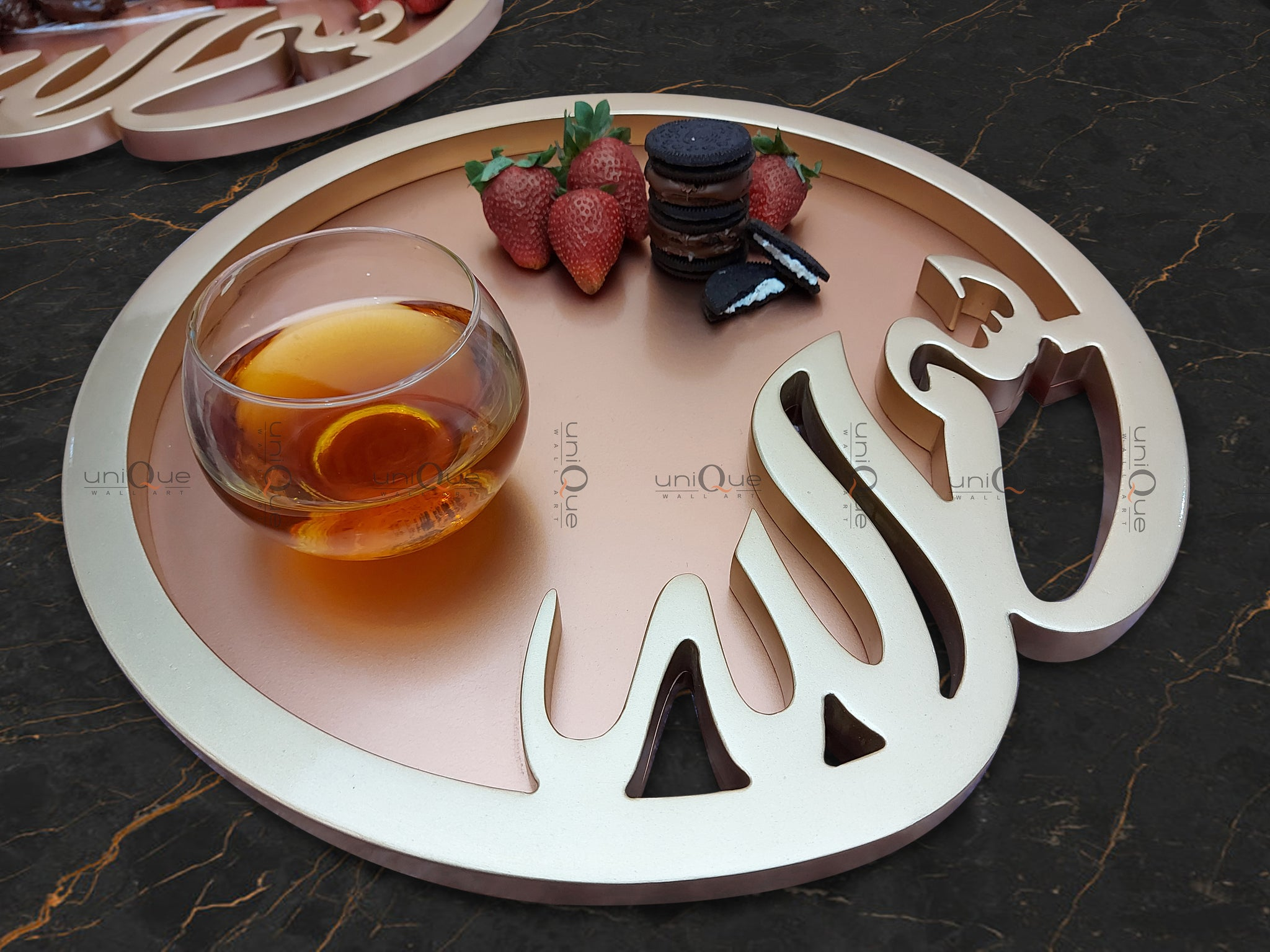 Islamic Bismillah Wood Serving Ramadan Tray Platter