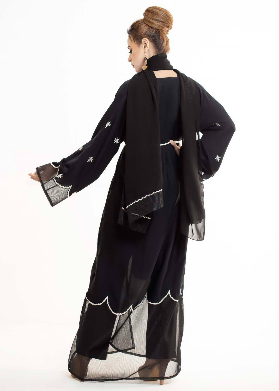 MODERN EMBROIDERED NET ABAYA