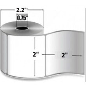"2x2"" Thermal Transfer Labels on 3"" Core (8 rolls/cs)"