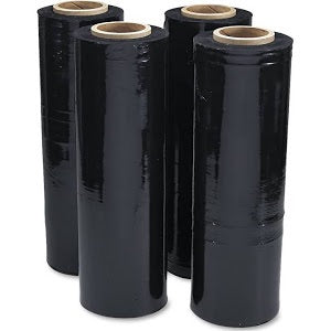"Black Stretch Wrap 18"" x 1500' 80 Ga. (4 rolls/case)"