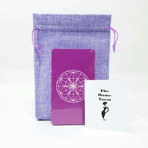 Dame Tarot by NKH-78 card tarot deck with bag and book, Tarot deck cards pretty, Tarot reading deck of cards, Purple tarot deck