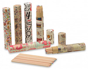 Pencil cases covered in decorative papers
