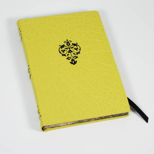 Pomelo: Hard Bound Leather Journal With Italian Marbled Edge and raised bands
