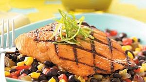 Grilled Salmon with Black Bean & Avocado Salsa