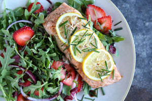 Grilled Salmon Salad with fresh fruit