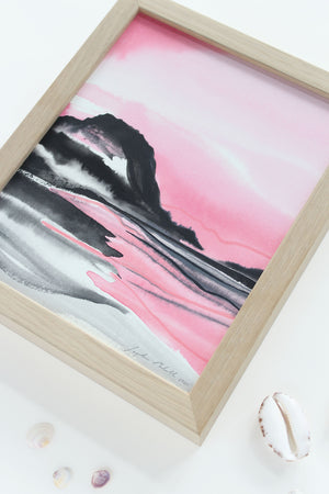 "Mt Maunganui II - a small (8 x 10"") original painting"