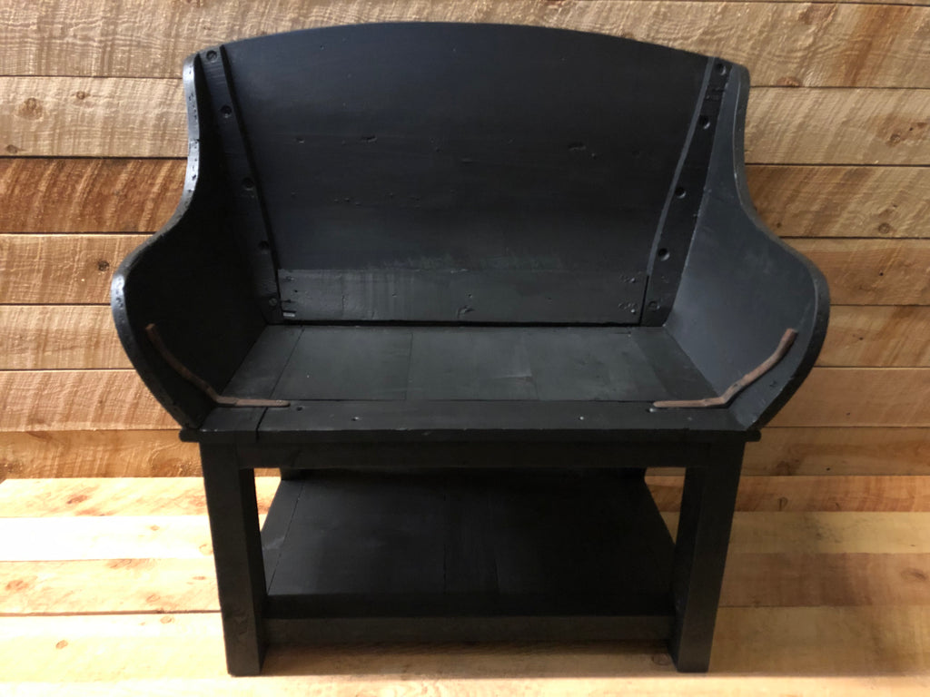 Surprising Vintage Buckboard Bench Black All Resort Furnishings Inzonedesignstudio Interior Chair Design Inzonedesignstudiocom