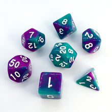 Load image into Gallery viewer, Esmeralda - Opaque Swirl dice set - 7 piece RPG dice set