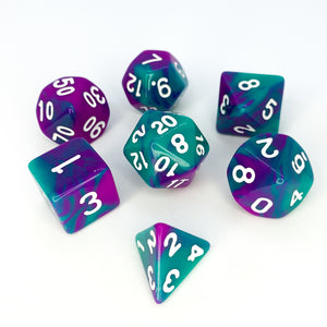 Esmeralda - Opaque Swirl dice set - 7 piece RPG dice set